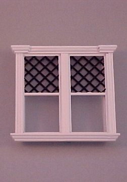 Majestic Mansions Miniature White Westfield Decorated Double Window 1:12 scale