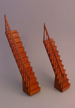 """Majestic Mansions Walnut 6"""" Space Saver Stairs 1:24 scale"""