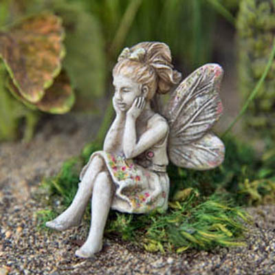 Miniature Dollhouse Garden Fairy With A Gem ~ Yellow Statue Resin