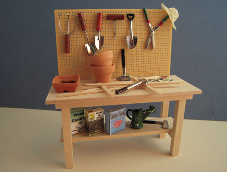 Small Houses Handcrafted Filled Potting Bench 1:12 scale
