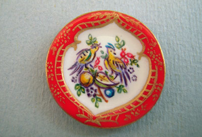 Christopher Whitford, Hand Painted Decorative Red Bird Plate 1:12 scale