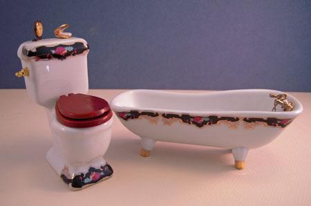 ESTATE SALE Two Piece Reutter Porcelain Royal Bath Set 1:12 Scale