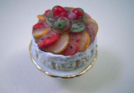 ESTATE SALE Reutter Porcelain Fruit Topped Cake 1:12 scale
