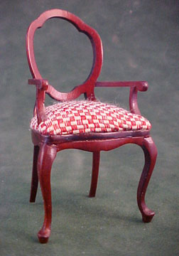 Bespaq Red Checked Arm Chair 1:12 scale