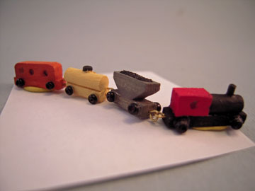 Sir Thomas Thumb Wooden Colorful Toy Train with Three Cars 1:12 scale