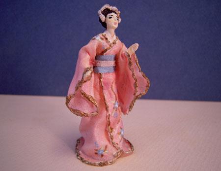 Hana In A Pink Kimono Miniature Doll 1:24 scale