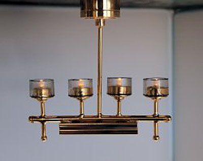 Battery Operated Contemporary Brass Ceiling Fixture 1:12 scale