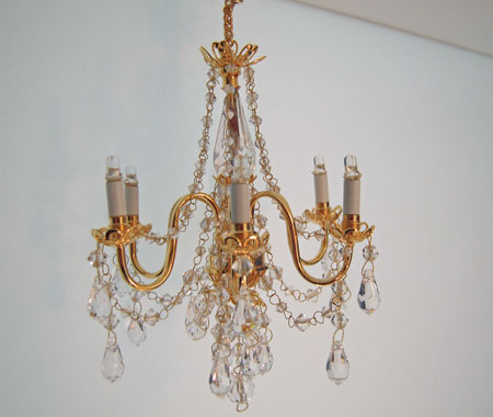 Battery Operated Six Arm Delmonico Crystal Chandelier 1:12 scale