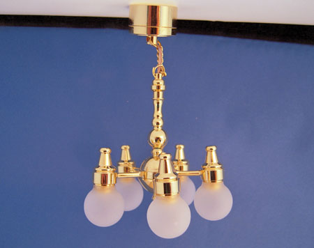Battery Operated Five Arm Kips Bay Chandelier 1:12 scale