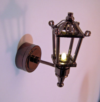 Battery Operated Fancy Silver Black Coach Lamp 1:12 scale