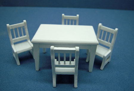 Townsquare White Dining Table Set 1:24 scale