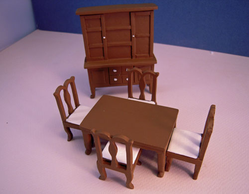 Six Piece Walnut Resin Dining Room Set 1:24 scale