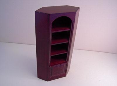 Miniature Mahogany Corner Bookcase 1:12 scale