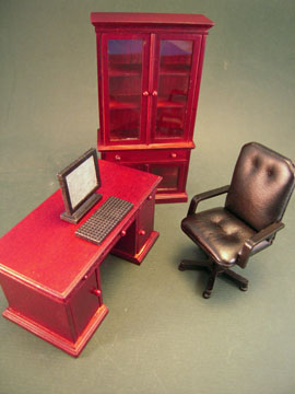 Mahogany 4 Piece Office Set 1:12 scale