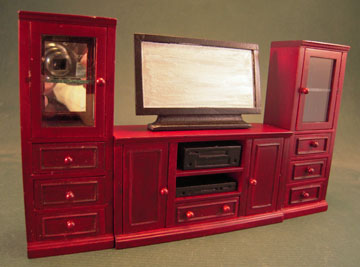 Mahogany Entertainment Center With TV 1:12 scale
