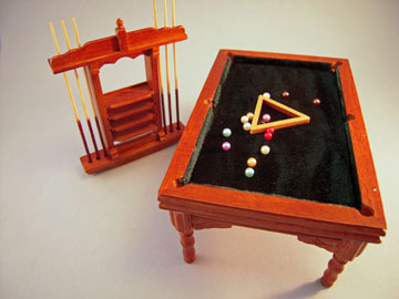 & Townsquare Walnut Pool Table Set 1:12 scale