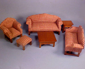 Townsquare Red Plaid Living Room Set 1:12 scale