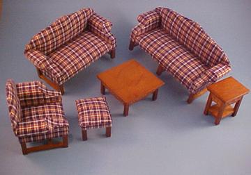 Townsquare Blue Plaid Living Room Set 1:12 scale