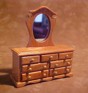 Townsquare Pecan Dresser with Mirror 1:24 scale