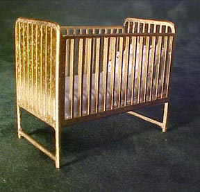 Teresa's Miniature Creations Handcrafted Gold Crib 1:12 scale