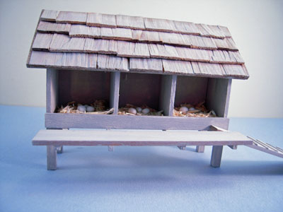 Handcrafted Finished Gray Wooden Chicken Coop 1:12 scale