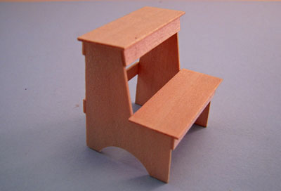 """1"""" Scale Artisan Miniatures Hand Crafted Unfinished Step Stool"""