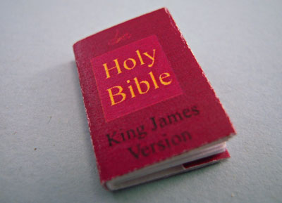 """1"""" Scale Artisan Miniatures Hand Crafted Printed Book """"The Holy Bible"""""""