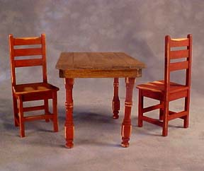 Taylor Jade Antique Red Handcrafted Colonial Table Set 1:12 scale