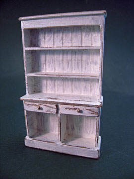 Taylor Jade Handcrafted Antique White Colonial Hutch 1:24 scale