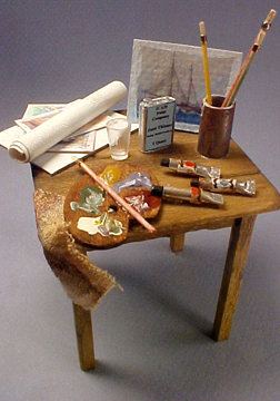 Handcrafted Taylor Jade Small Art Table 1:12 scale
