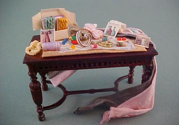 Taylor Jade Filled Victorian Sewing Table 1:24 scale