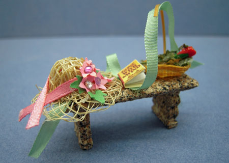 Taylor Jade Hand Crafted Filled Garden Bench 1:24 scale