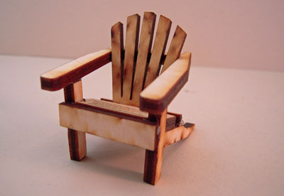 Unfinished Wooden Adirondack Chair 1:24 scale