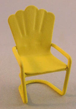 Yellow Metal Lawn Chair 1:24 scale