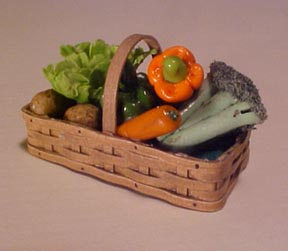 Vegetables In A Woven Basket 1:12 scale