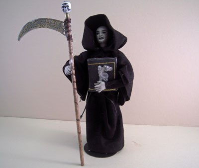 Jan Smith Grim Reaper Porcelain Doll In Black 1:12 scale