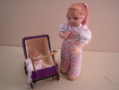 Jan Smith Toddler Clara Pushing Her Baby 1:12 scale