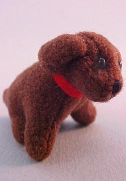 World Of Miniature Bears Sitting Brown Dog 1:12 scale