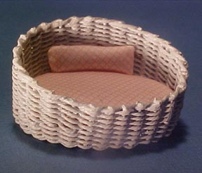 White Wicker Kitty Bed 1:24 scale