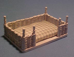 White Wicker Dog Bed 1:12 scale