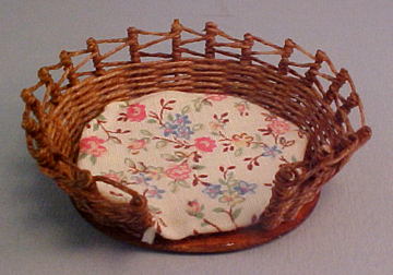 Warling Miniatures Handcrafted Natural Wicker Pet Bed 1:12 scale