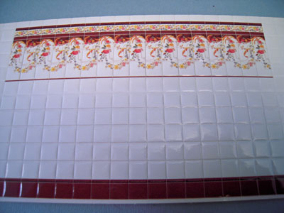 World Model Floral Ribbon Faux Wall Tile 1:24 scale