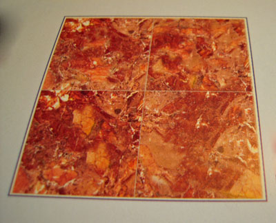 World Model Amber Orange Faux Marble Floor Tile 1:24 scale