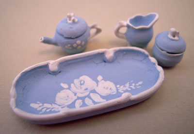 Warwick China Blue Fancy Tea Set 1:24 scale