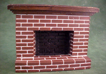 Buy Dollhouse Miniature Product Townsquare Small Red Brick Fireplace in 1:12 inch Scale