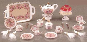 "1"" Scale Reutter Porcelain Classic Rose Tea Service"