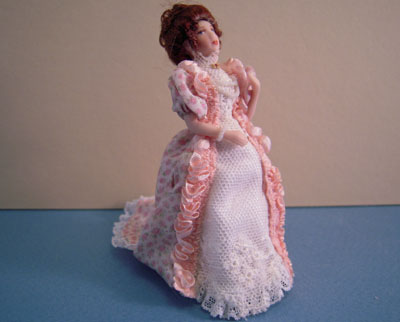 "Loretta Kasza Hand Crafted 1/2"" Scale Belinda In Pink Print & Lace Porcelain Doll"
