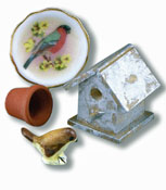 "1"" Scale Reutter Porcelain Bird House Set"