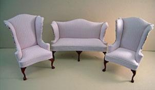 "Bespaq 1"" Scale Three Piece Elegant Shabby Chic Pink Wing Sofa Set"