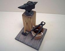 "1"" Scale Miniature Blacksmith's Set On A Base"